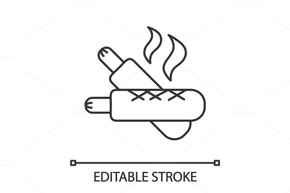 French Hot Dogs Linear Icon