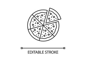 Pizza with one slice separated linear icon