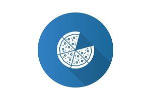 Pizza flat design long shadow glyph icon