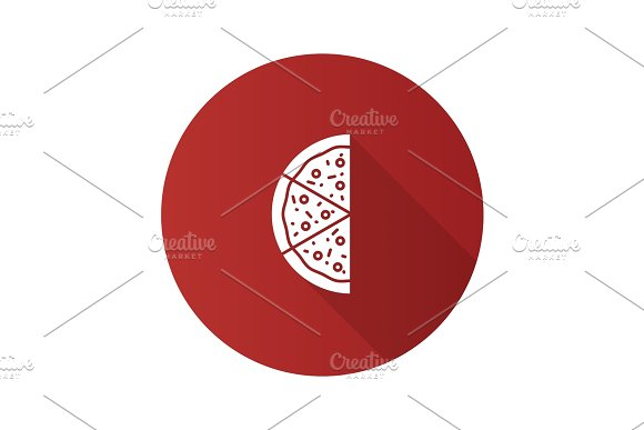 Half Of Pizza Flat Design Long Shadow Glyph Icon