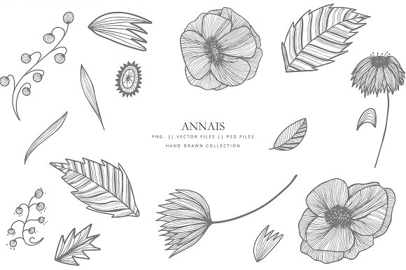 Clipart Flowers Lineart Grey