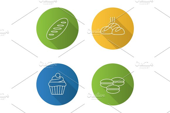 Bakery Flat Linear Long Shadow Icons Set