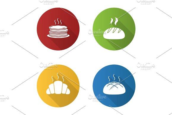 Bakery Flat Design Long Shadow Glyph Icons Set