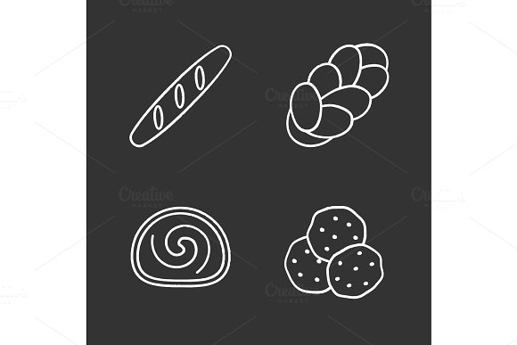 Bakery Chalk Icons Set