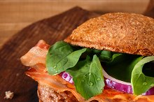 Burger close up on a cutting board