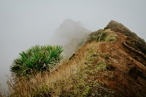 Misty trail leads along the mountain ridge. Path and steep slopes hidden in the fog. Santo Antao Cape Verde
