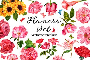 Vector Watercolour Flowers Set