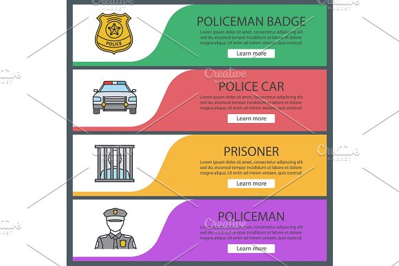 Police Web Banner Templates Set