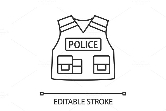 Police Tactical Vest Linear Icon