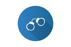 Handcuffs flat design long shadow glyph icon