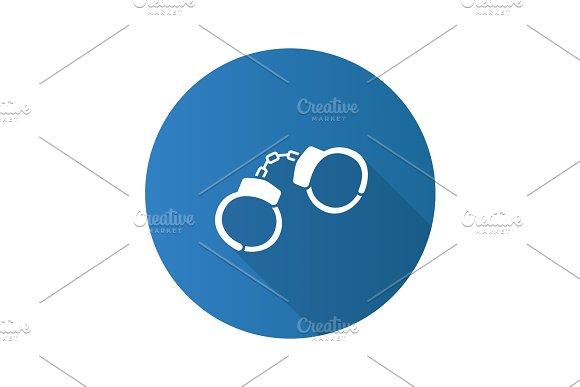 Handcuffs Flat Design Long Shadow Glyph Icon