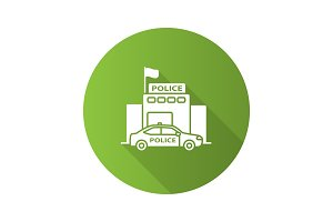 Police department building flat design long shadow glyph icon