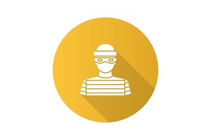 Robber flat design long shadow glyph icon