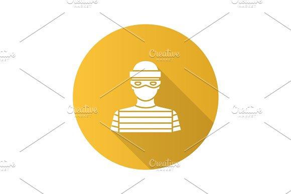 Robber Flat Design Long Shadow Glyph Icon