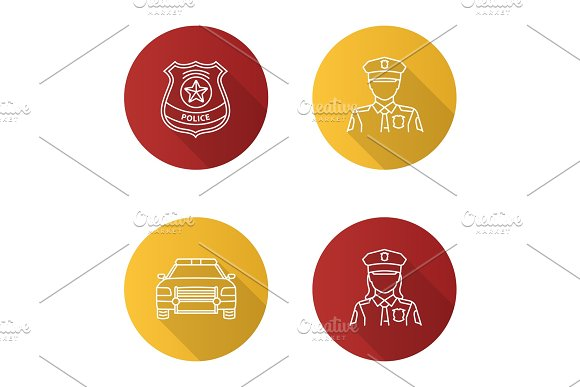 Police Flat Linear Long Shadow Icons Set