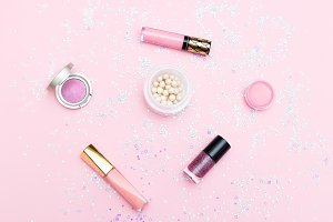 Decorative cosmetics of pink color