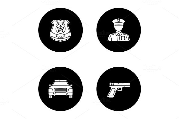 Police Glyph Icons Set