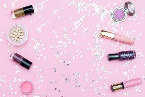 Decorative cosmetics. Copy space