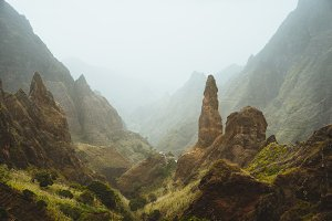 Picturesque canyon Ribeira da Torre covered with sand dust brought from Sahara. sugarcane, coffee and other cultivation grow on steep terraced hills. Xo-Xo valley Santo Antao Cape Verde Cabo Verde