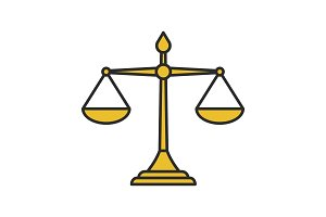 Justice scales color icon