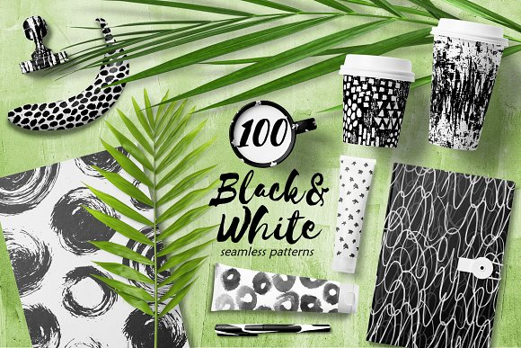 100 Abstract Black White Patterns
