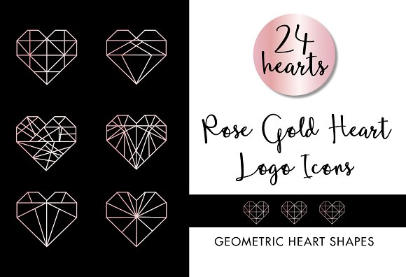 Rose Gold Geometric Heart Logos Icon