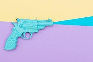 blue plastic gun