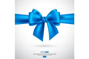 Realistic blue bow and ribbon.