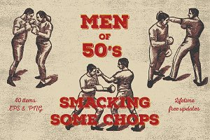 Men of 50's Boxing. Vector Pack