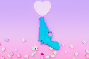 plastic gun shoots a heart shape
