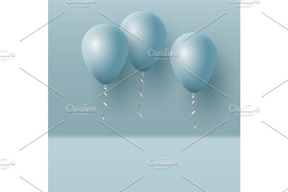 Realistic 3D Blue Ballons