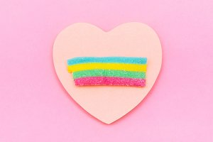 rainbow bubble gum on the heart