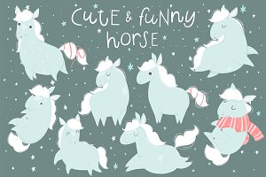Cute horse - kids set
