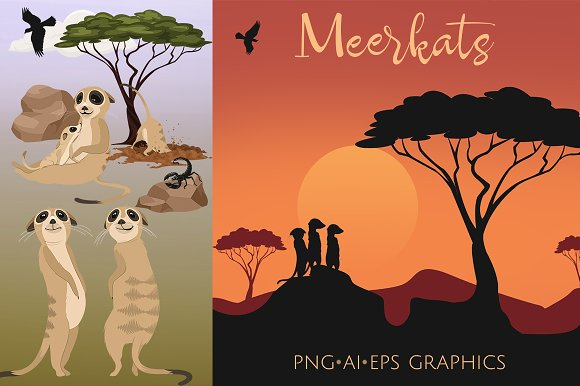 Meerkat Clip Art Graphics Set