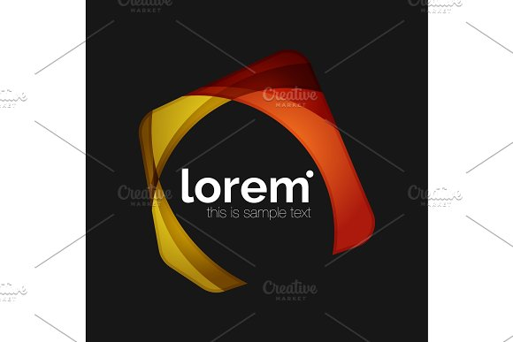 Clean Professional Business Emblem Abstract Transparent Overlapping Shapes