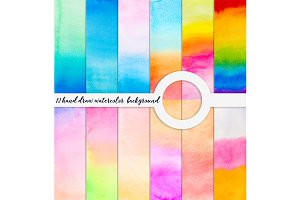 hand draw watercolor background set