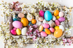 Easter eggs and spring flowers.