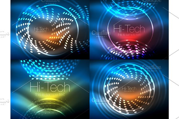 Set Of Glowing Neon Techno Shapes Abstract Background Collection Vector Futuristic Magic Space Wallpapers