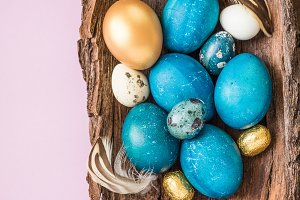 Easter blue and gold dyed eggs.