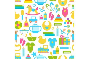 Toys for Children Set Pattern Vector Illustration