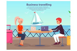 Business Travelling Man Woman Vector Illustration
