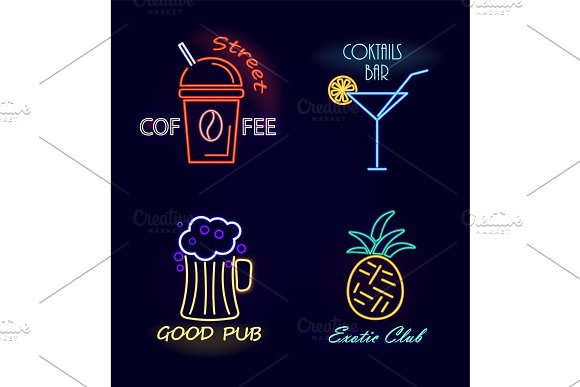 Street Coffee And Cocktail Bar Vector Illustration