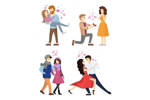 Set of Couples in Love Hugging Dance Tango Vector
