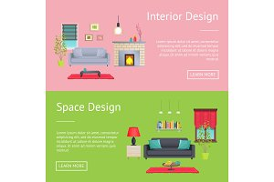 Interior and Space Design Vector Illustration