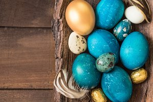Easter holiday food background.
