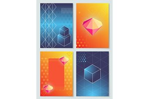Diamonds and Cubes Collection Vector Illustration