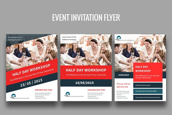 event invitation flyer flyer templates on creative market. Black Bedroom Furniture Sets. Home Design Ideas