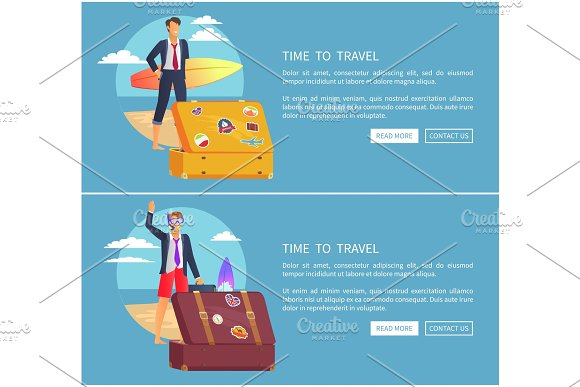 Time To Travel Set Of Web Page Vector Illustration