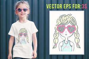 cute girl illustration vector eps 10