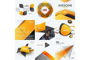 Set of abstract vector design for graphic template. Creative modern business background with geometric shapes